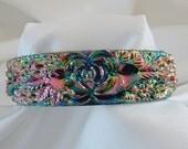 Vintage Molded Pink & Green Iridescent Art Plastic Bracelet - NOS