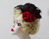 Feather Fascinator, Unique Weddings, Red Roses, Black, Gothic Lolita, Head Piece, Feather Headdress,  Batcakes Couture