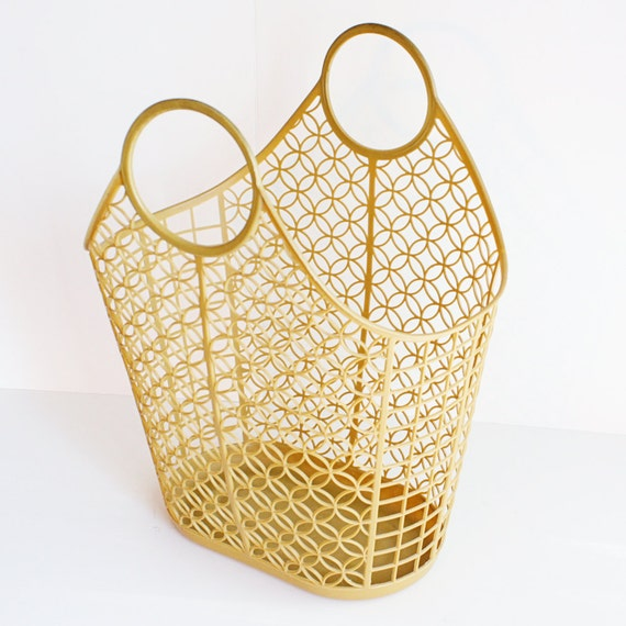 Vintage Beach Basket Tote Plastic Butterscotch By