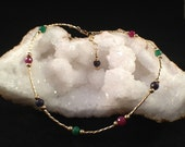 Gold Filled Genuine Ruby, Emerald, and Sapphire Beaded Anklet