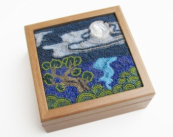 Wood Jewelry Box with Bead Embroidered Landscape