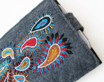 iPhone 4 Case, Gray Wool Felt with Teal and Red Paisley Embroidery