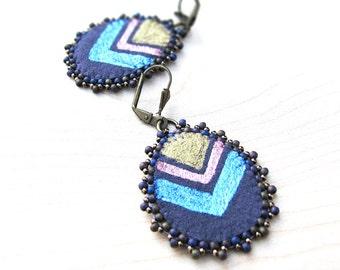 Purple Chevron Earrings, Pink Gold and Blue Textile Earrings, Lightweight Earrings