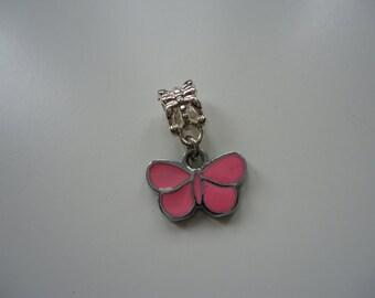 Pink Butterfly Bracelet or Necklace Charm
