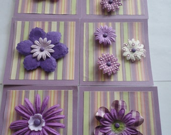 set of 6 2x2  Mini cards purple stripe with flower
