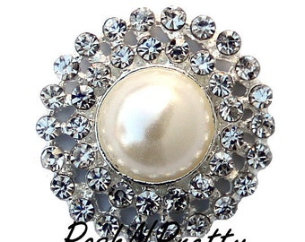 5 PCS Pearl Center Rhinestone No Shank button 25mm S3