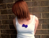 Purple Yarn Bow Necklace - Hand knit bow on silver chain