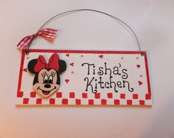 Kitchen Minnie Mouse Wall Hanging - Personalized