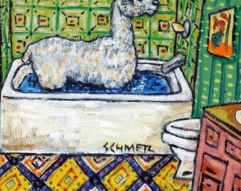 alpaca bathroom animal art tile coaster  JSCHMETZ modern abstract folk pop art AMERICAN ART gift