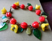 Garden Party - Bracelet and Earrings with Vintage Glass Flower and Leaf Beads