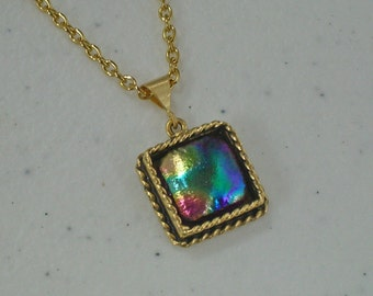 Dichroic Necklaces -  2 Reversible Necklaces - Handcrafted Dichroic Necklaces - 1 Gold - 1 Silver