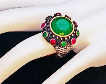 Turkish Delight - Emerald & Ruby Ring
