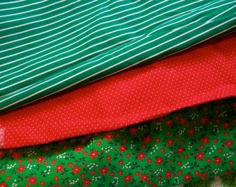three small fabric scraps