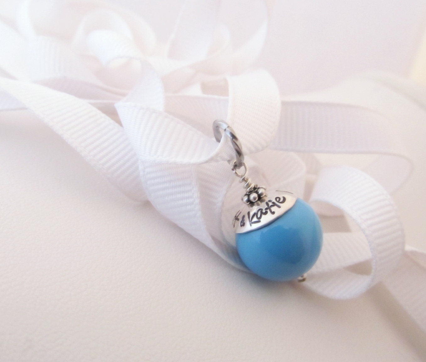 Something Blue Wedding Charm Personalized And Hand Stamped