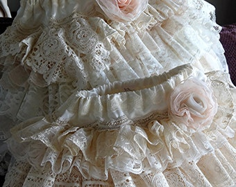 Wedding  custom vintage ruffled  lace flower girl skirts by Rosanna Hope for Babybonbons  Birthday, Photo shoot