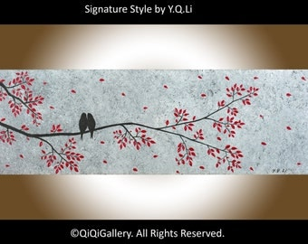 """Contemporary Landscape Painting love birds art grey red black acrylic canvas art wall art wall decor """"Just the two of us"""" by qiqigallery"""