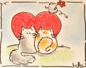 Love is in the air - Original Miniature Aceo by bdbworld on Etsy