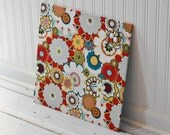 Fabric covered magnet board 16 inch x 16 inch covered in bold flowers fabric - bulletin board note board command center office organizer