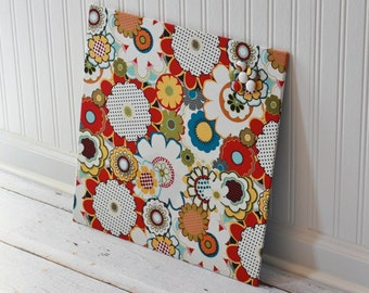 Fabric covered magnet board 16 inch x 16 inch covered in bold flowers fabric