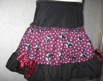 NEW Black,Burgundy,Grey Swallow Frilly Mini Skirt,Punk,Retro,rock,goth,All sizes,Goth,sequoia