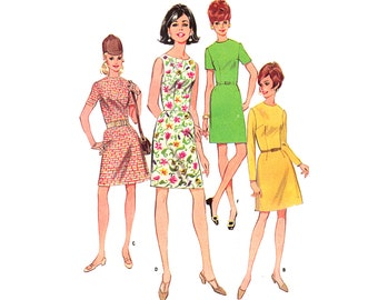 Vintage 60s Dress Sewing Pattern 1960s Sleeveless Summer Sheath Mini Dress size Small bust 32 McCall's 9085
