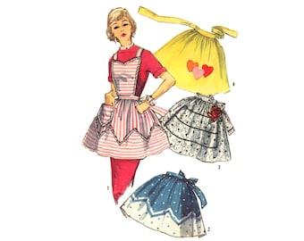 Vintage 1950s Sewing Pattern Bib Apron Heart Lace Applique Rick Rack Uncut Simplicity 1789 Unused Vintage Kitchen Collectible