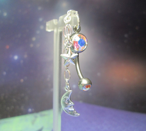 Dangling Moon and Stars Belly Button Ring