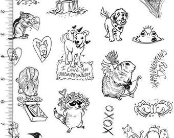 Plate 89 Full Sheet of Valentine's Day Rubber Stamp Dies, Groundhog, Guinea Pig, Raccoon, Penguin, Hamster, Chipmunk, Squirrel