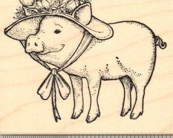 Easter Pig in Bonnet Rubber Stamp   K20709   Wood Mounted