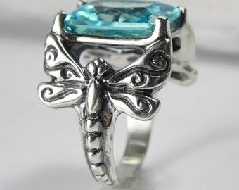Aquamarine Blue Dragonfly Statement Ring - Blue Dragonfly Ring - Unique Dragonfly Jewelry - Vintage Inspired Gemstone Dragonfly