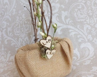Burlap Wedding Flower Girl Basket- Country Chic Rustic Woodland-Personalized Wood Burned Hearts
