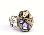 Steampunk Ring - Gorgeous Vintage Clockwork ring design & Purple Tanzanite Swarovski Crystals - Steampunk Jewellery PROMPTLY SHIPPED