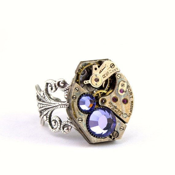 Steampunk Ring - Gorgeous Vintage Clockwork ring design & Purple Tanzanite Swarovski Crystals - Steampunk Jewellery PROMPTLY SHIPPED