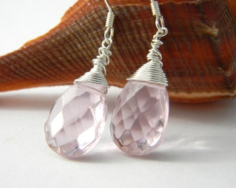 Pastel Pink Glass Wire Wrapped Drop Earrings