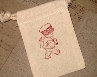 5 Valentine Bags - Cupid - Hand stamped - Muslin - Postman