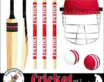 Cricket set 2 Red INSTANT DOWNLOAD 6 Png digital clipart graphics