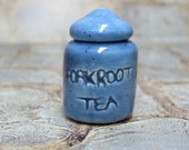 RESERVED CUSTOM LISTING miniature blue canister of forkroot tea - Wheel of Time jar for dollhouse or curio