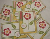 Summer Bloom - set of 8 flower thank you notes in red, orange, yellow, green and white