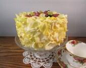 Lemon Yellow Faux Flower Petal Cake