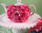White Teapot with Faux Flower Petals in Shades Fuschia