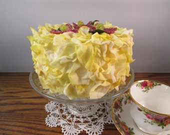 Fake Birthday Cake Lemon Yellow Faux Flower Petal Cake with Beaded Flowers Photo Prop Cake Display Cake Bridal Shower Decor