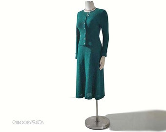 Vintage 70s DVF Dress 2-Piece - Diane von Furstenberg Teal Knit Dress S M