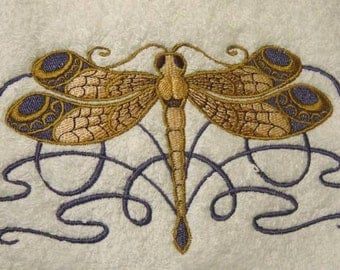 CELTIC DRAGONFLY - Stunning Embroidered Terrycloth Hand Towel - FREE U.S. Shipping