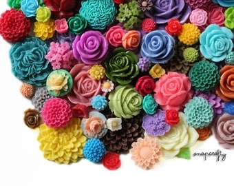 25 pc colorful flower cabochon mix, a deluxe wholesale lot of mixed sizes and styles to make earrings, rings and hairpins