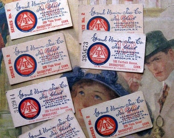 Vintage Tea Coupons (8), Red, White and Blue, Connecticut, Grand Union Tea Co. Tea Check,