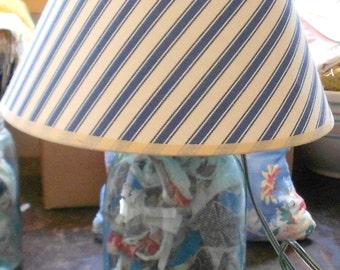 GLASS BALLJAR LAMP, Vintage Blue Mason Ball Jar, zinc lid, ticking pattern shade, cottage chic, upcycled, lighting, rag scraps, ooak