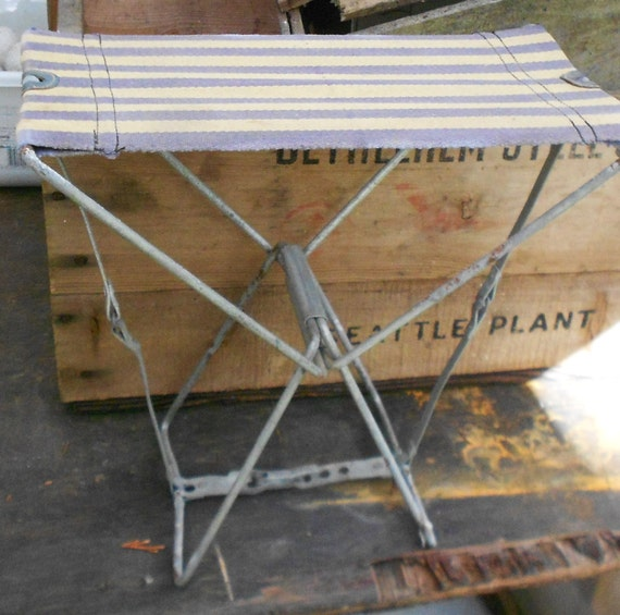 Vintage Folding Camp Chair Canvas Seat Small By