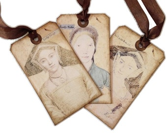 Medieval Style Gift Tags, Shakespearan Gift Tags, Gift Tags for Book Clubs, Renaissance Lady Tags, Medieval Style Gift Tags, Tudor Tags,