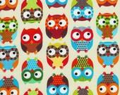 OWLS CREAM/Multi Novelty Owl Bird Birds Quilt Fabric - by the Yard Timeless Treasures