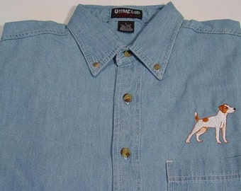 JACK RUSSELL Dog Embroidered Small to 4XL Long Sleeve Light Blue Denim Shirt - Price Embroidery Apparel